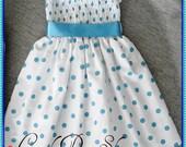Girls Blue and white polka dot dress, Easter dress, White and blue polka dot party dress, Girls blue polka dot dress, Baby polka dot dress