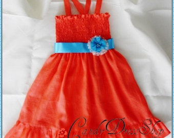 Coral Orange dress - Size 5T-6T - Linen dress for girls - Coral orange frilly dress - Easter dress - Coral orange party dress -Ready to Ship