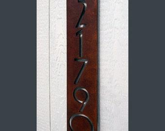 Custom Euro Floating House Numbers Vertical in Rusted Steel