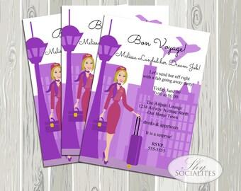 Airport Invitation / Going Away Party / Bon Voyage Party / Dream Job / Travel / Fabulous Flight Attendant / Stewardess / Digital Invitation