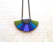 Purple and green oriental fan necklace polymer clay Dragonfly bronze banana and olive green turquoise blue teal purple violet pendant
