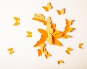 3D Wall Butterflies, Orange Butterfly Decals, Pumpkin Butterfly Wall Art, Nursery Decor