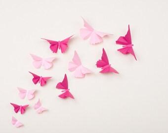 Pink Butterfly Wall Decor, Nursery Decor, Wedding Decorations, Light Pink & Fuchsia Metallic Decals