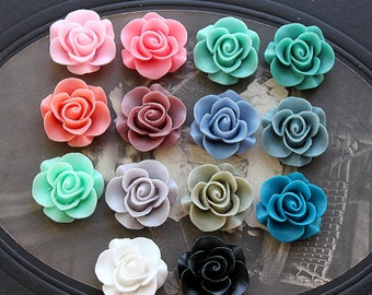 14pcs Wholesale Beautiful Mix Colorful Rose Flower Resin Cabochon  -14colors  -20mm(CAB-S -MIXSS--5)