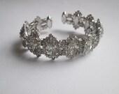 Vintage Weiss Bracelet Cuff Flexible Clear Rhinestone Rare Bling Jewelry