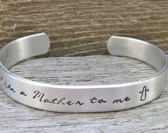Bracelet Like A Mother To Me Hand Stamped Cuff Aluminum  NEW 12g Metal Thicker Sturdier Great Gift Like A Sister Like A Daughter