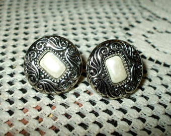 Silver Tone Victorian Style Vintage Earrings Antique Design With Pearl Centers Pierced