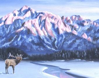 Elk wildlife animal landscape original 24x36 oils on canvas painting by RUSTY RUST / E-154