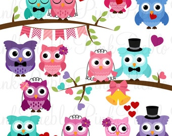 Wedding Owl Clipart Clip Art, Wedding or Valentine's Day Owls Clipart Clip Art Vectors, Great for Invitations - Commercial and Personal
