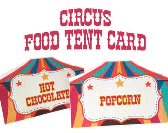 Carnival circus themed animal cupcake toppers picks decorations - Circus Table Tent Etsy