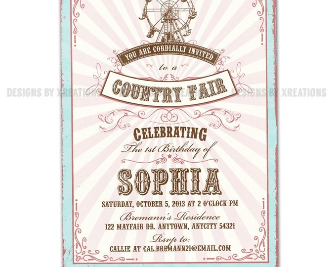 Vintage Pink Circus or Pink Country Fair Invitation, Customizable Wordings, Print your own