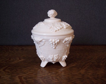 Pink Milk Glass Footed Candy Dish with Lid by Jeanette Glass