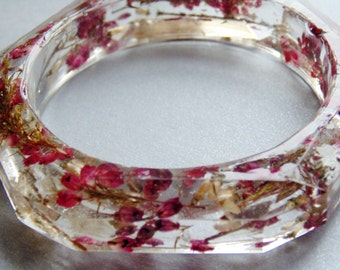 Scottish Purple Heather Bangle, Lucky White Heather Bracelet, Pressed Flower Jewelry, Eco Friendly, Gift for Women