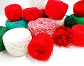 Christmas Craft Yarns, Vintage Red Green and White Yarns, Holiday Mixed Lot