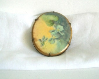 Antique Jewelry Brooch Victorian Flowers Hand Painted Brooch Pin Brass Pansy