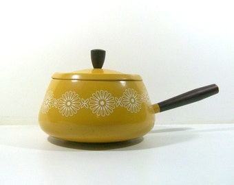 Mid Century Yellow Fondue Pot