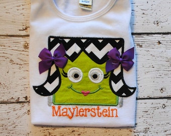 Embroidered Bodysuit or Shirt with Girl Frankenstein with Personalized Name