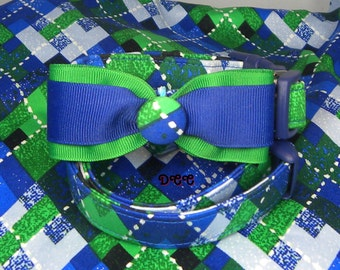 Dog Collar Great Everyday Blue Green White Argyle Stripes Check w Ribbon Blue & Green Bow Tie Adjustable Dog Collar with D Ring Choose Size