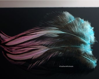 Decorative Laced Rooster Feathers Dyed Pink and Blue Decoration Craft Feathers Pink Blue Feathers Blue Pink Feather Laced Feathers, 12