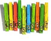 10 MONKEY CLOTHESPINS hand painted magnetic monkey party favors