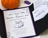 Pumpkin Silhouette Wedding Invitation, Halloween Wedding, Autumn Wedding, Halloween Party, DEPOSIT