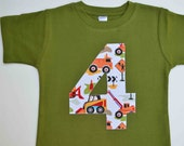 Boys 4th Birthday Shirt, Construction Number 4 Tshirt, Applique Tee in Olive Green with Dump Truck Equipment Short Sleeve Ready to Ship 4T