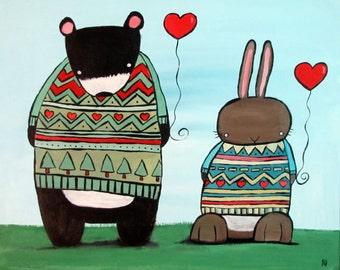 Bear and Bunny Rabbit Art Print, Kids Wall Art Nursery Decor, Storybook Children's Art