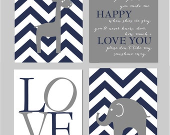 "ON SALE Navy and Grey Nursery, Elephant Nursery Wall Art, Giraffe Nursery, Baby Boy Nursery, Baby Boy Wall Art, Set of four 8""x10"" prints"