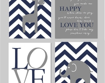 "Elephant Nursery Art, Baby Boy Nursery, Elephant Wall Art, You Are My Sunshine, Navy and Grey Nursery, Set of four 8""x10"" prints"