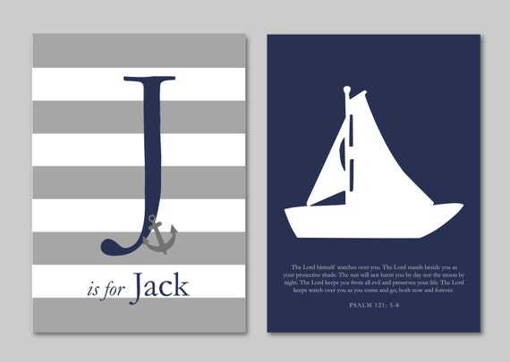 "Nautical Nursery Art Baptism Gift New Baby Boy Gift Boy Room Decor Art for Nursery Baby Boy Gift - Set of two Prints You Choose Colors 5""x7"""