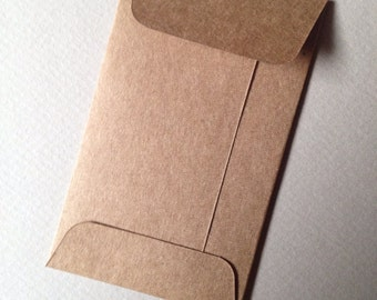 "50 Kraft Mini Envelopes--Size 2 1/8"" x 3 1/2""-business card envelopes, favor envelopes, coin envelopes - heavyweight brown Kraft"