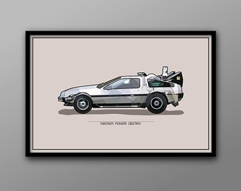 You Made a Time Machine out of a DeLorean // Back to the Future Vehicle Poster // Poly Art Mosaic Illustration