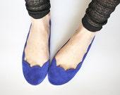Cobalt Blue Royal Blue Soft Suede Scalloped Handmade Ballet Flats