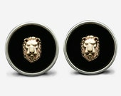Sterling Silver & Gold Lion Cufflinks