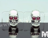 Sterling Silver Skull with Ruby Eyes Cufflinks