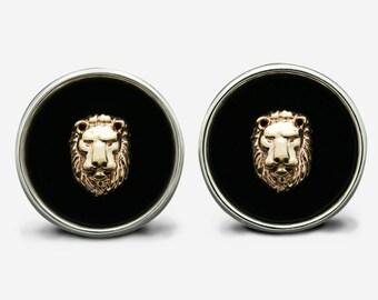 Sterling Silver & Gold Lion Cufflinks