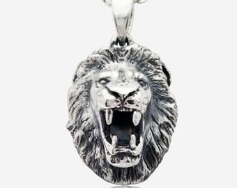 Sterling Silver Roaring Lion Pendant