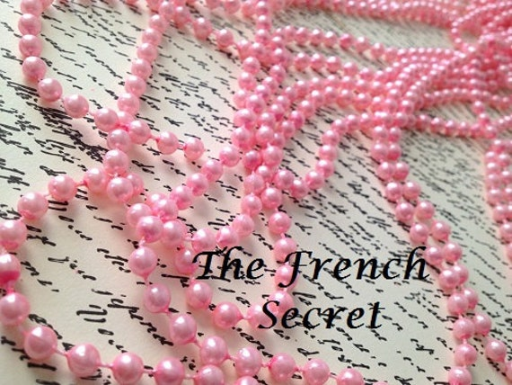 Christmas Pink Pearl Garland Beaded Garland Decoration Shabby
