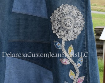 DELAROSA Custom Doily flower lace stem and fabric leaves Appliqué's for your jean skirt (add in item only)