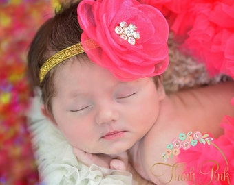 CHOOSE COLOR Baby Headbands ,Baby girl Headband,Newborn Headband, Pink baby headband,Baby Hair Bows, Flower Headband, Easter Headband