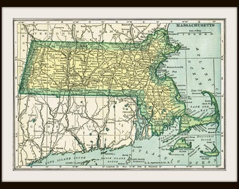 DIGITAL Download - 1920's MASSACHUSETTS Map - US Map for Papercrafts, Transfers, Pillows, Scrapbooks, and more.