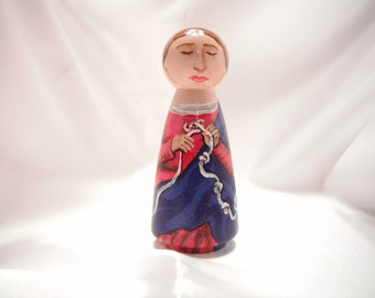 Mary Undoer of Knots / Mary Untier of Knots - Catholic Saint Wooden Peg Doll Toy Figure - made to order