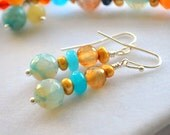 Silver Dangle Earrings Precious Faceted Agate Gemstone Jade Freshwater Golden Pearls Handcrafted