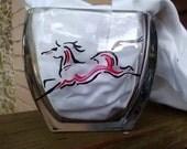 Hand painted running horse vase.