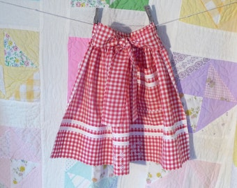 Vintage Handmade Red Gingham Checked Apron Seventies 1970's Childs Apron