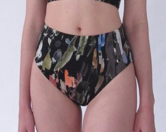 Brush Stroke High Waist Swim Bottom