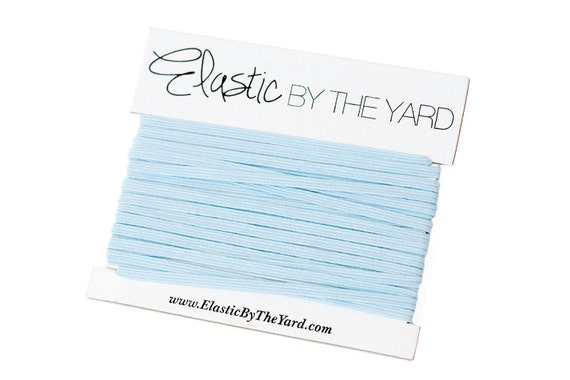 LIGHT BLUE Skinny Elastic for Baby Headbands 1/8 inch - 5 yards