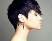 EAR CUFF - Gunmetal Spike Charms Ear Cuff - Extra Earring With Chain And Spike Charms, Pierced or Not Pierced, ER-0017