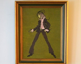 SALE Vintage framed painting of a fashion model unsigned 1970s was 45.00