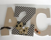 Baby Boy Hanging Wall Letters - Brown Neutral Tones - Custom Wooden Letters for Nuseries